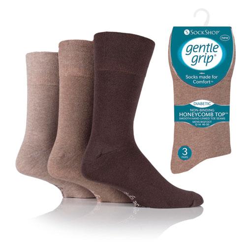 Mens Big Foot Diabetic Gentle Grip Socks Brown Assorted