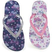 Girls Butterfly Print Flip Flops