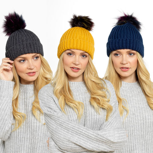 Ladies Knitted Hat With Faux Pom Pom