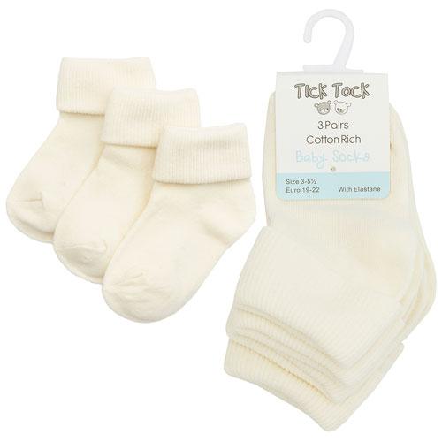 Turn Over Top Baby Ankle Socks Cream