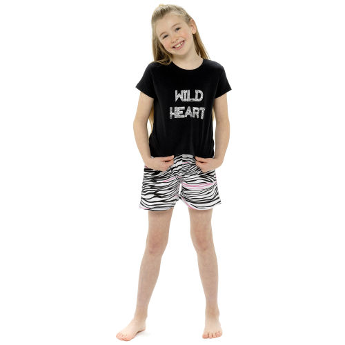 Girls Jersey Tie Front Top And Printed Shorts Set