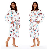 Ladies Floral Fleece Dressing Gown Robe Pink/Blue