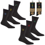 Mens 3 Pack Bamboo Embroidered Socks Football Pub