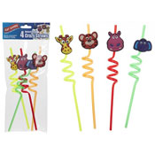 Animal Head Crazy Straws 4 Pack