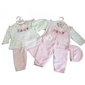 Baby Girl 'Baby' Fleece Top, Trousers and Hat Set