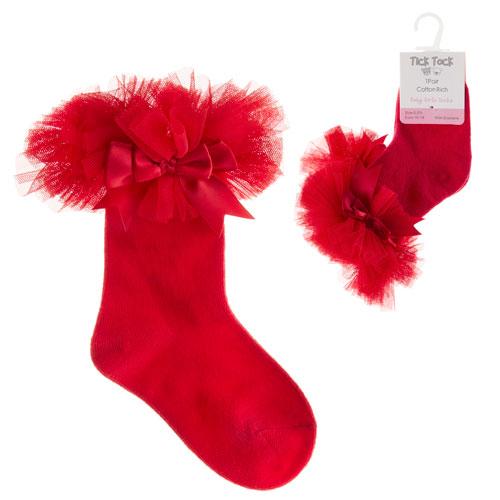 Baby Girls Tutu Frill Socks Red