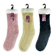 Ladies Knitted Slipper Socks With Grippers