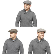 Mens Tweed Herringbone Flat Cap Assorted