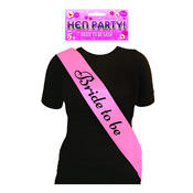 Bride To Be Pink Sash With Black Text