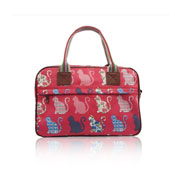 Ladies Kitty Day Canvas Weekend Bag Fuschia