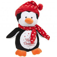 10 Inch Penguin With Red Polka Dot Hat And Scarf