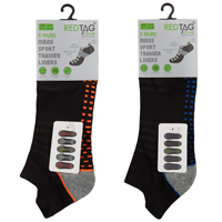 Mens 5 Pack Mesh Insert Trainer Socks Dash Design