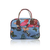 Ladies Butterfly Canvas Weekend Bag Blue