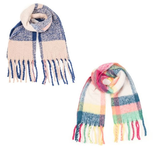 Extra Large Blanket Scarf Colourful Checks