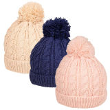Babies Cable Knitted Bobble Hat