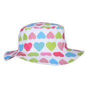 Girls Bush Hat White with Hearts
