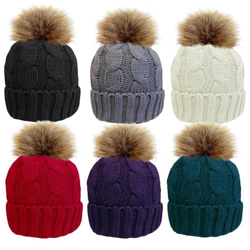 Ladies Cable Hat With Detachable Faux Fur Pom Pom