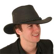 Leather Hat Australian Look Black