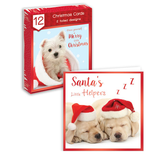 Traditional Christmas Cards Puppies