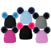 Girls Ski Beanie Hats With Faux Fur Pom Pom
