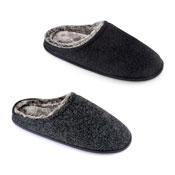 Mens Two Tone Melton Plush Slippers