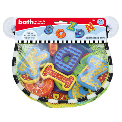 Letters And Numbers Bath Stickers In Hanging Bag