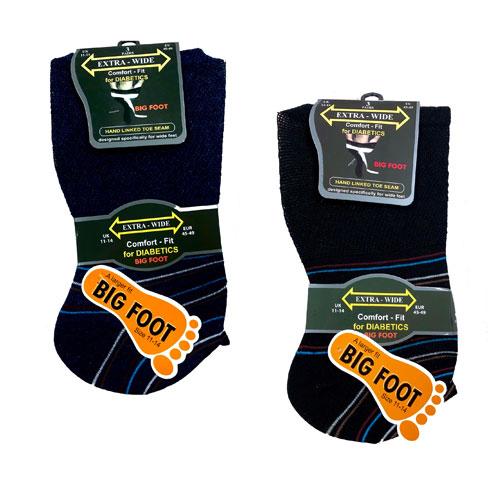 Big Foot Extra Wide Stripe Diabetic Mens Socks