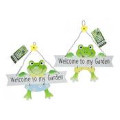 Wooden Garden Frog Welcome Sign