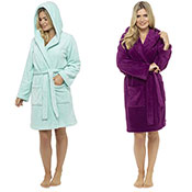 Ladies Hooded Fleece Dressing Gown Plain