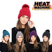 Ladies Self Colour Pom Pom Hat Cosy Lining Carton Price
