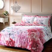 Bold Painted Floral Pink Duvet Set