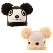 Childrens Novelty Soft Knit Pom Pom Hat Bear/Deer