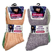 Ladies Non Elastic Wool Blend Socks