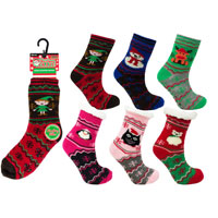 Unisex Childrens Christmas Slipper Socks with Lining