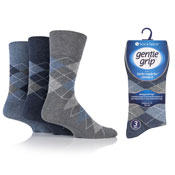 Mens Gentle Grip Socks Argyle Blue/Gray