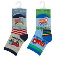 Baby Boys 3 Pack Socks Fire Engine - Truck