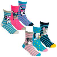Girls 3 Pack Design Socks Dogs Assorted