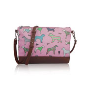 Mixed Dog Pattern Crossbody Bag Pink
