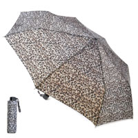 Ladies Leopard Print Wind Resistant Umbrella