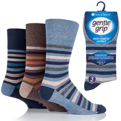 Mens Gentle Grip Socks Ollie Bold Stripe Casual