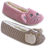 Ladies Cat/Dog Knitted Ballet Slippers