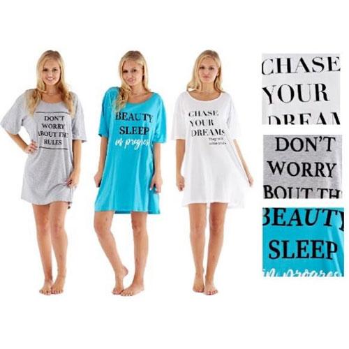 Ladies Assorted Slogan Printed Sleepy Tee Nightie