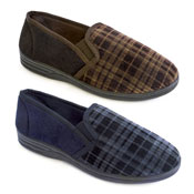 Mens Soft Fleece Chequered Slippers Blue/Brown