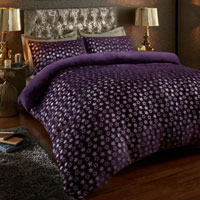 Super Soft Metallic Star Duvet Set Purple/Silver