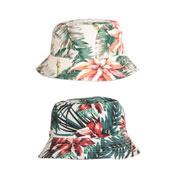 Ladies Floral Print Bush Hat White/Navy