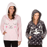 Ladies Flannel Hooded Top Animal Prints