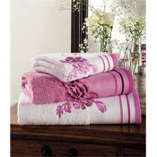 Egyptian Cotton Belvoir Bath Towels White with Pink Trim