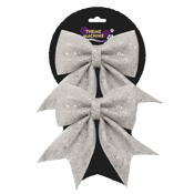 Two 16CM Glitter Sequin Bow Silver