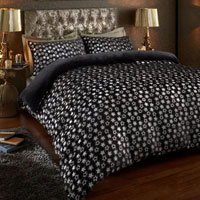 Super Soft Metallic Star Duvet Set Black/Silver