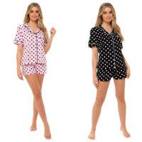 Ladies Jersey Button Pyjama Shorts Set